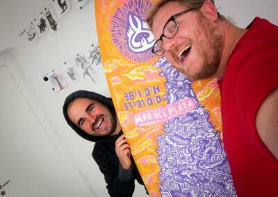 René Calle 13 tabla de surf. Arte. Lucas Lamarche
