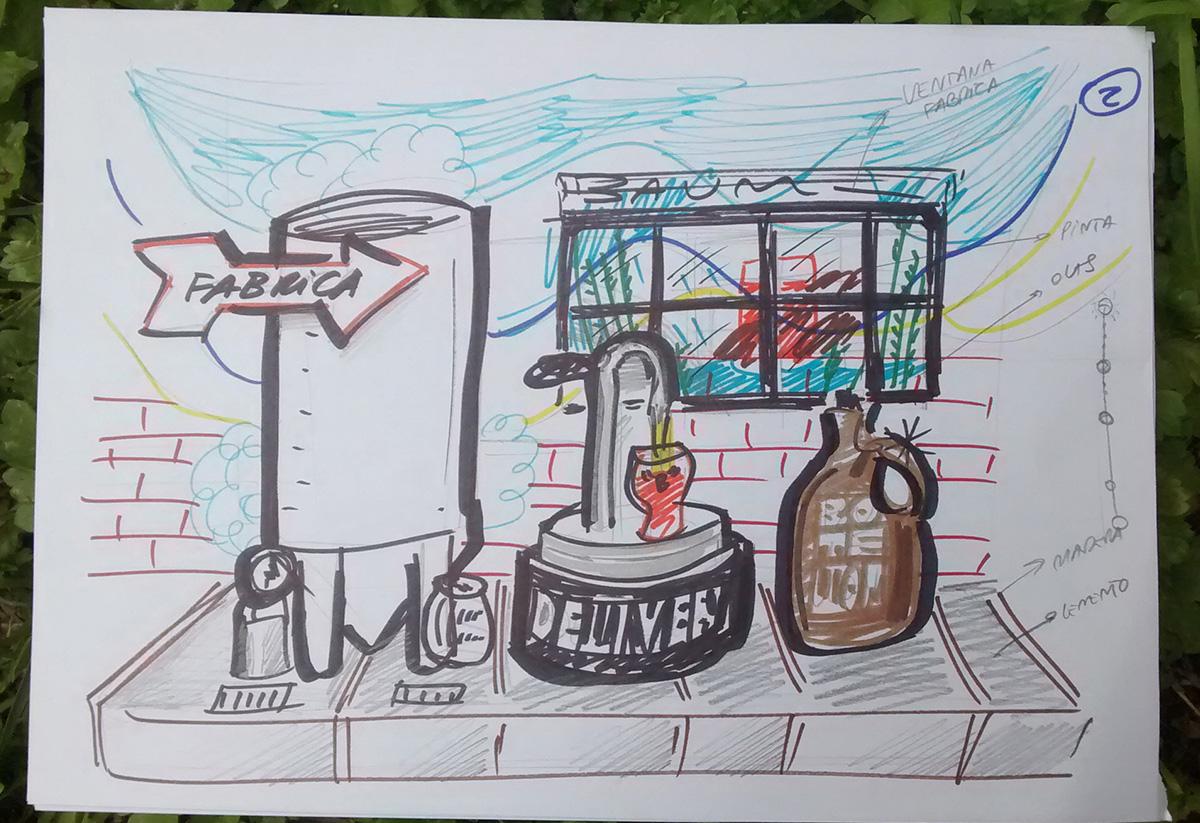 Ilustraciones fábrica. Website Baum. Arte.
