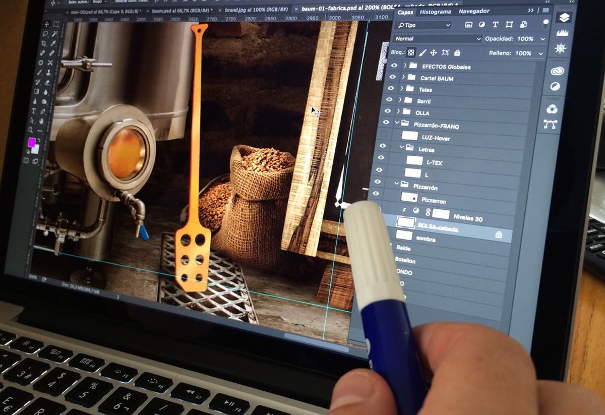 Baum. Capas. Photoshop. Producción website